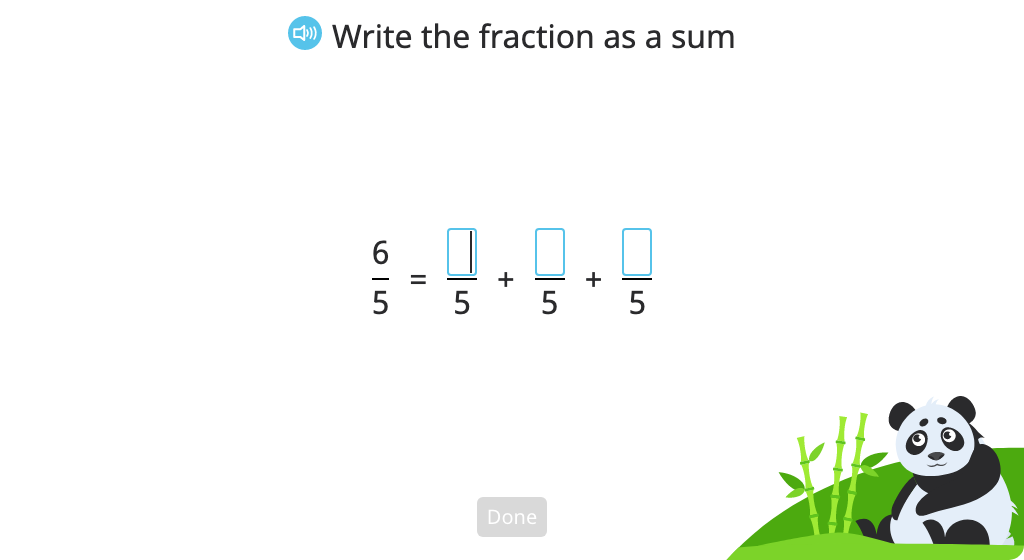 Record a fraction as the sum of its parts