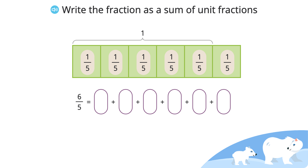 Record repeated addition of fractions as multiplication (fractions greater than 1)