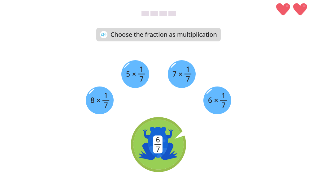 Identify the multiplication expression that matches a given fraction