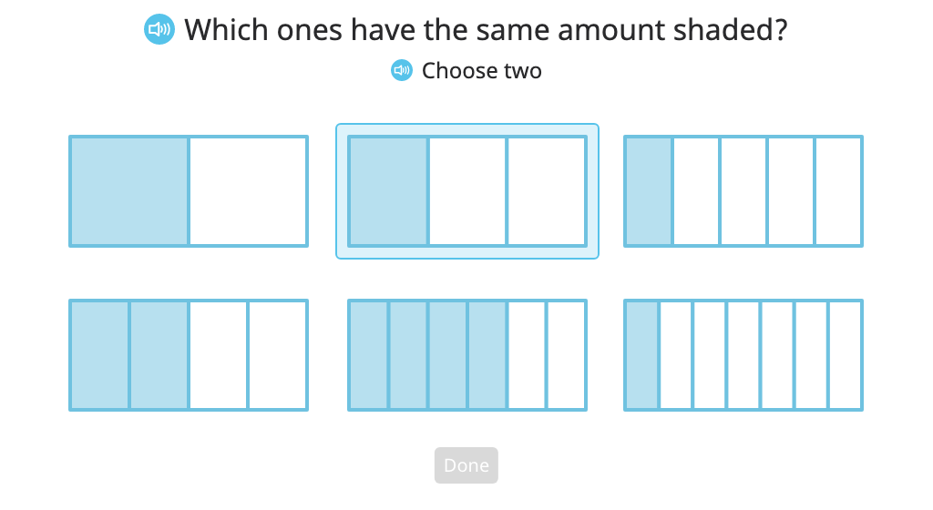 Identify, label, and compare equivalent fractions