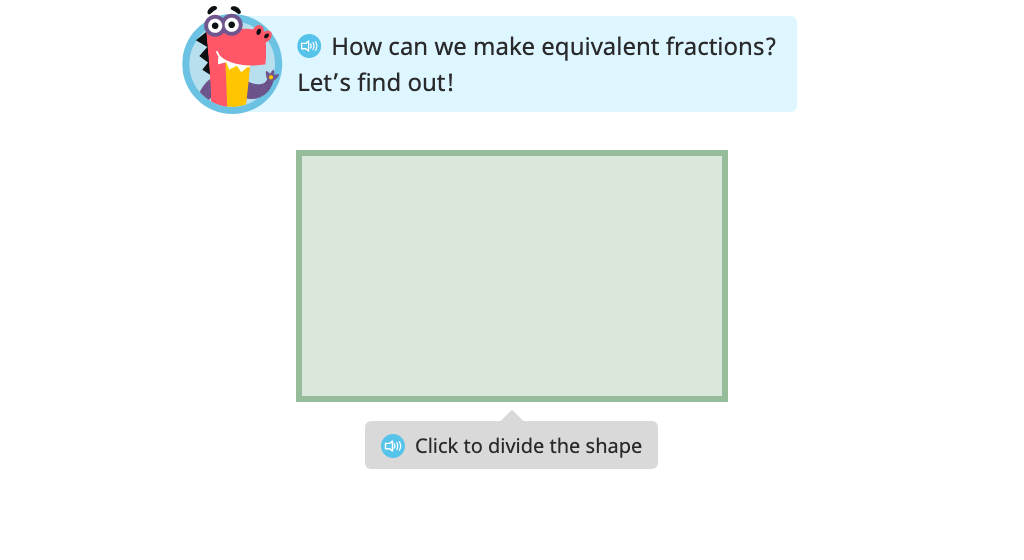 Divide a model in two different ways to show and label equivalent fractions