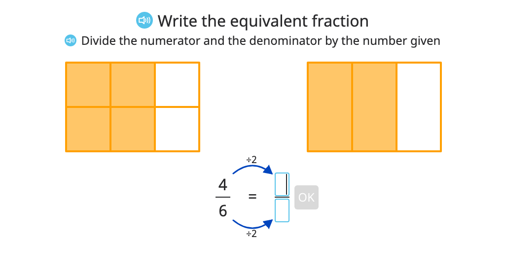 Divide to find equivalent fractions with and without a model