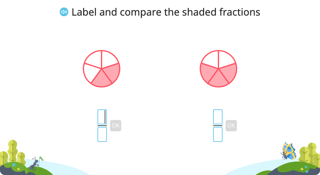 Label and compare fractions with like denominators or like numerators based on a model