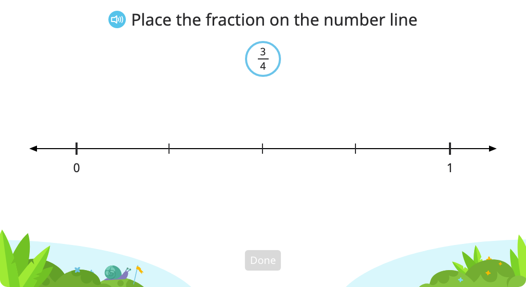 Place fractions with like denominators or like numerators on a number line and compare
