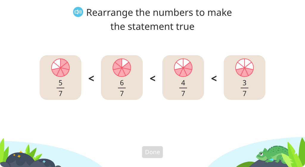 Order four fractions with like denominators or like numerators based on a model