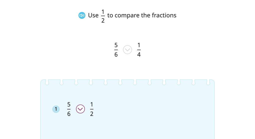 Compare fractions by comparing each one to ½