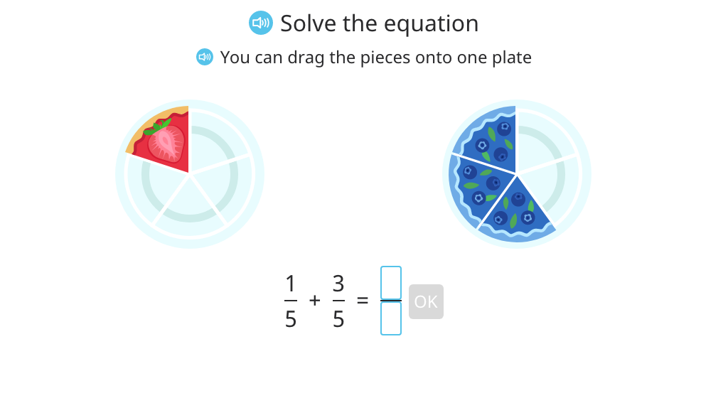 Identify and add fractions with a common denominator based on a model