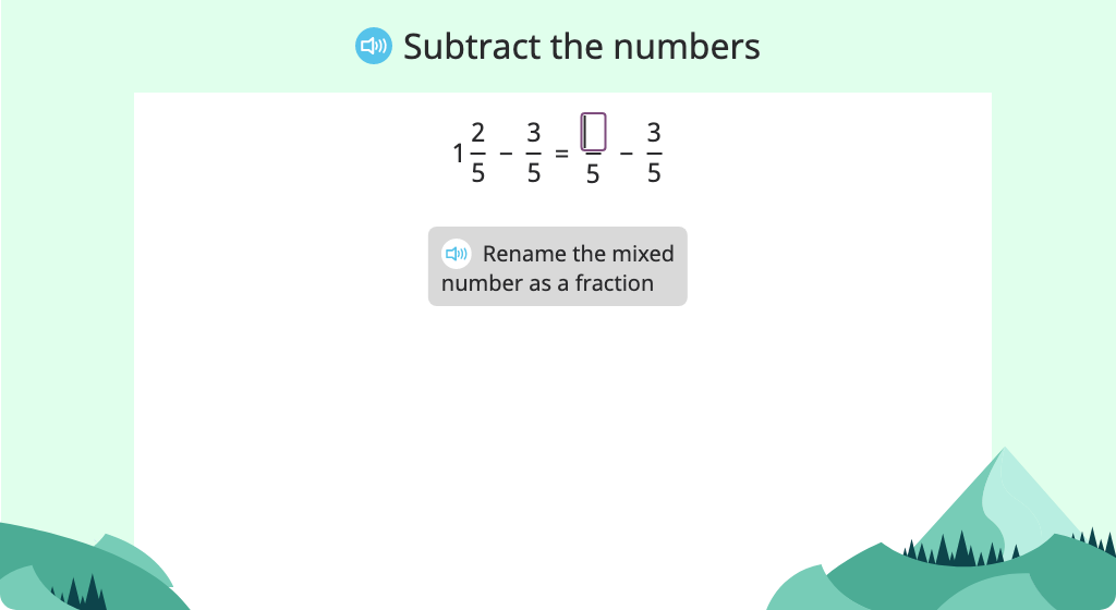 Subtract a fraction from a mixed number with and without renaming the mixed number as a fraction