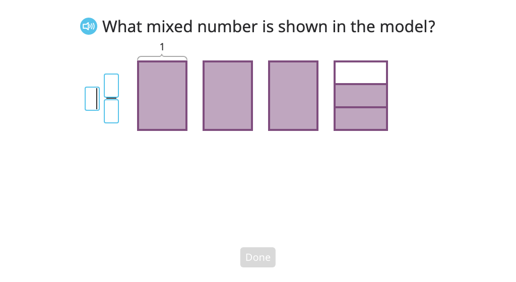 Rename a mixed number as a fraction greater than 1 based on a model