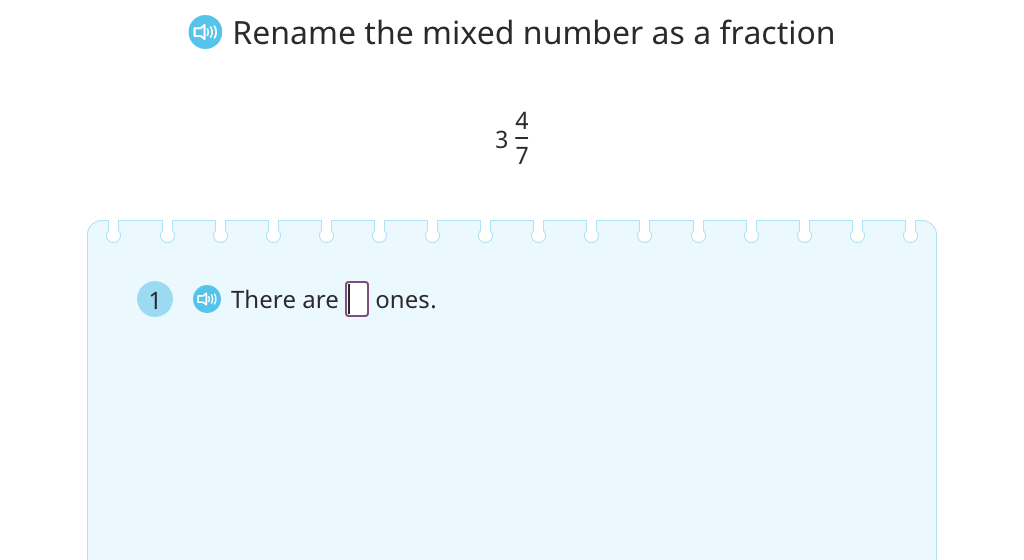 Rename a mixed number as a fraction greater than 1