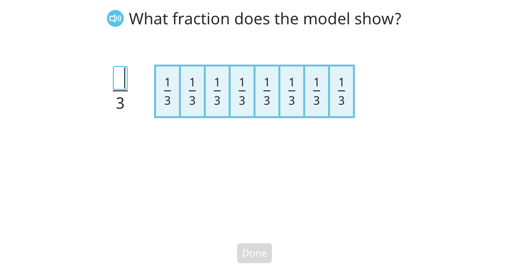 Rename a fraction greater than 1 as a mixed number based on a model