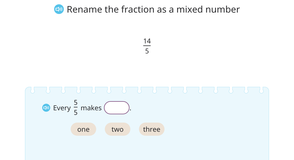 Rename a fraction greater than 1 as a mixed number