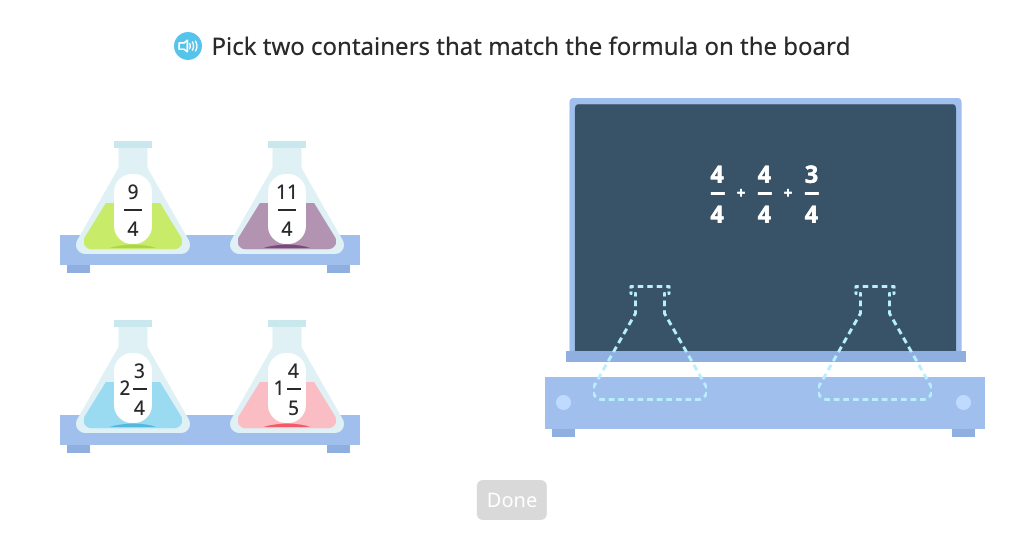 Match fraction addition to a mixed number and a fraction greater than 1