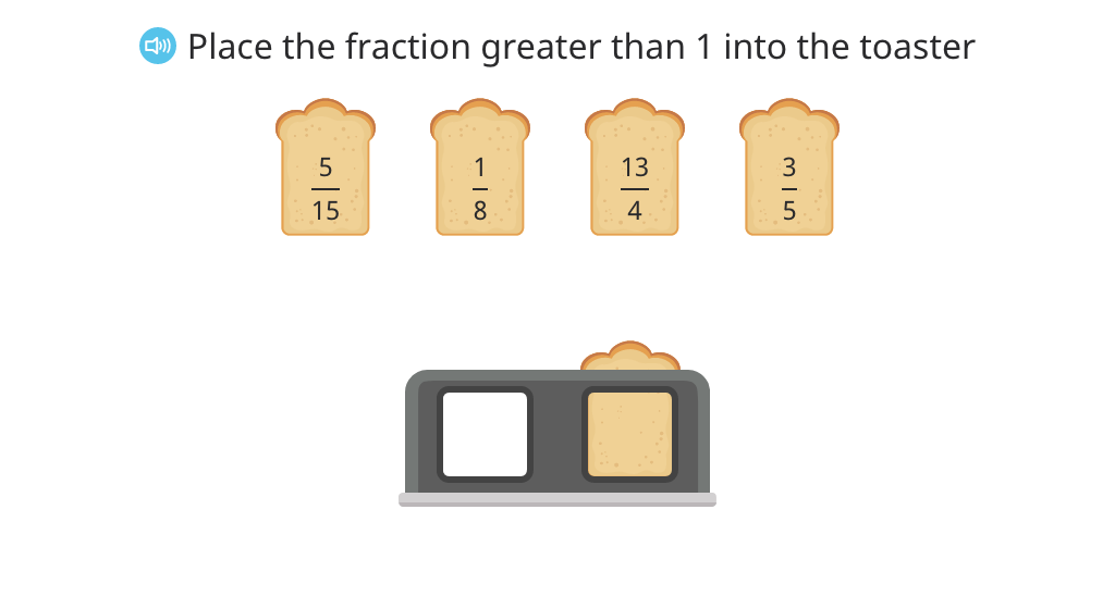 Identify a fraction greater than 1 and rename it as a mixed number