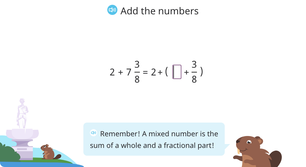 Add a whole number to a mixed number