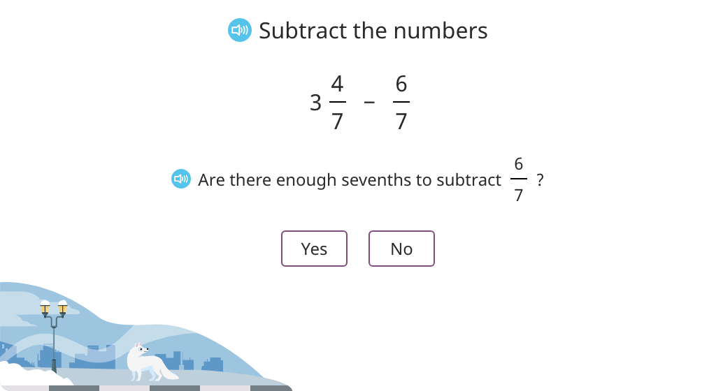 Subtract a fraction from a mixed number with the same denominator by converting to an improper fraction (Level 2)