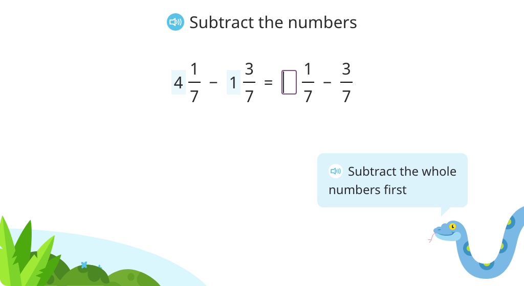 Subtract mixed numbers with the same denominator