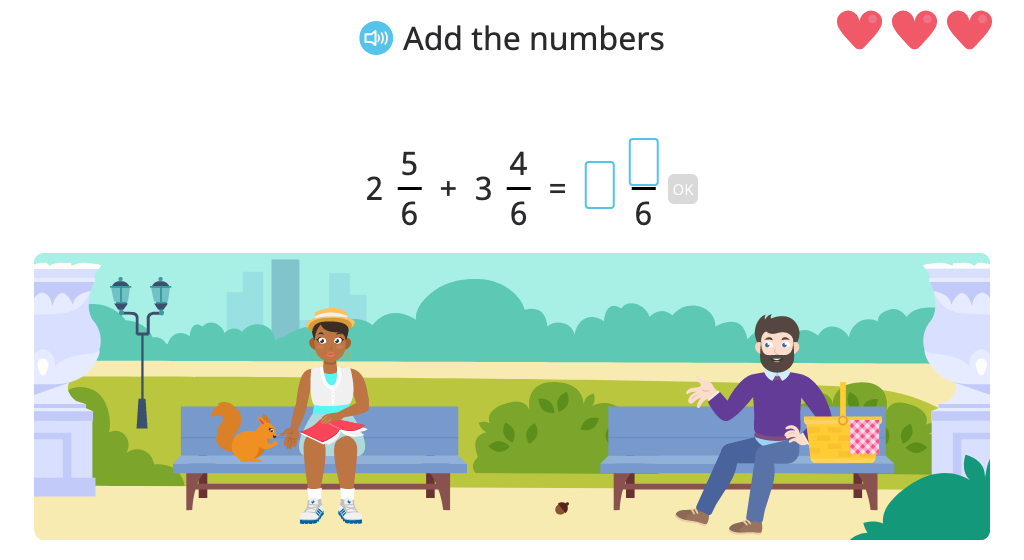 Add and subtract mixed numbers with the same denominator