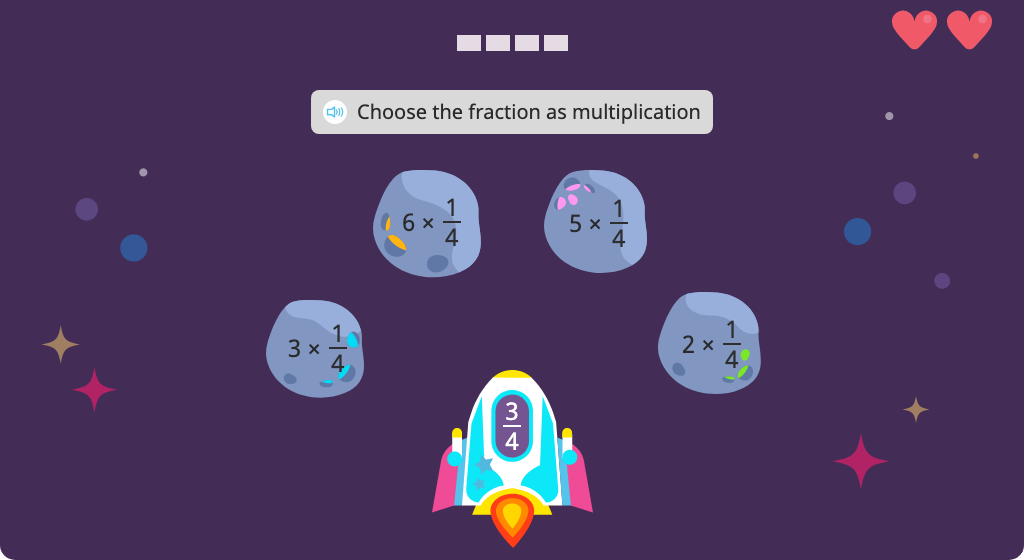 Identify multiplication of a unit fraction by a whole number that matches a given fraction