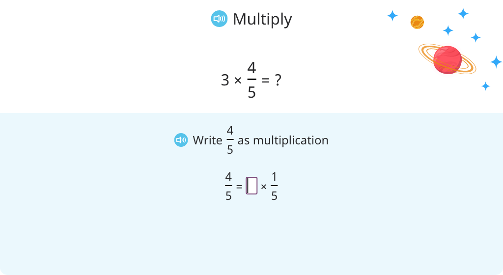 Multiply a whole number by a fraction by splitting it into a multiple of a unit fraction