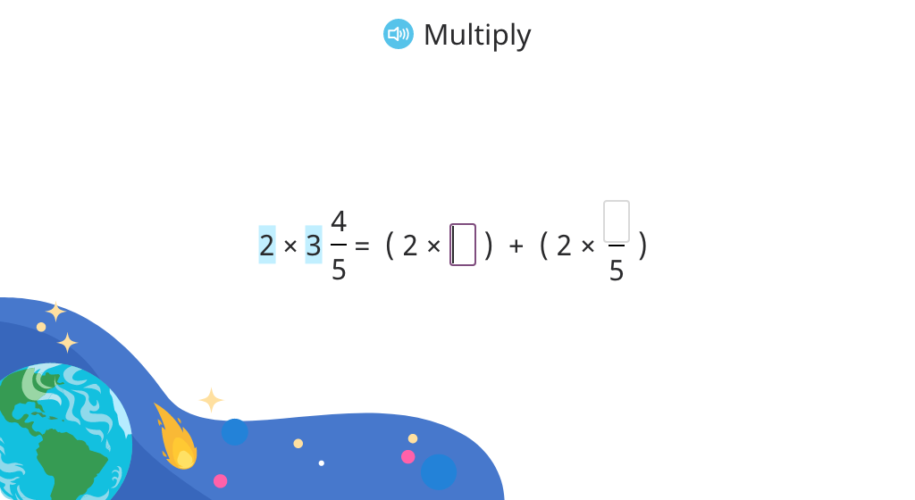 Multiply a whole number by a mixed number and rename without a fraction greater than 1