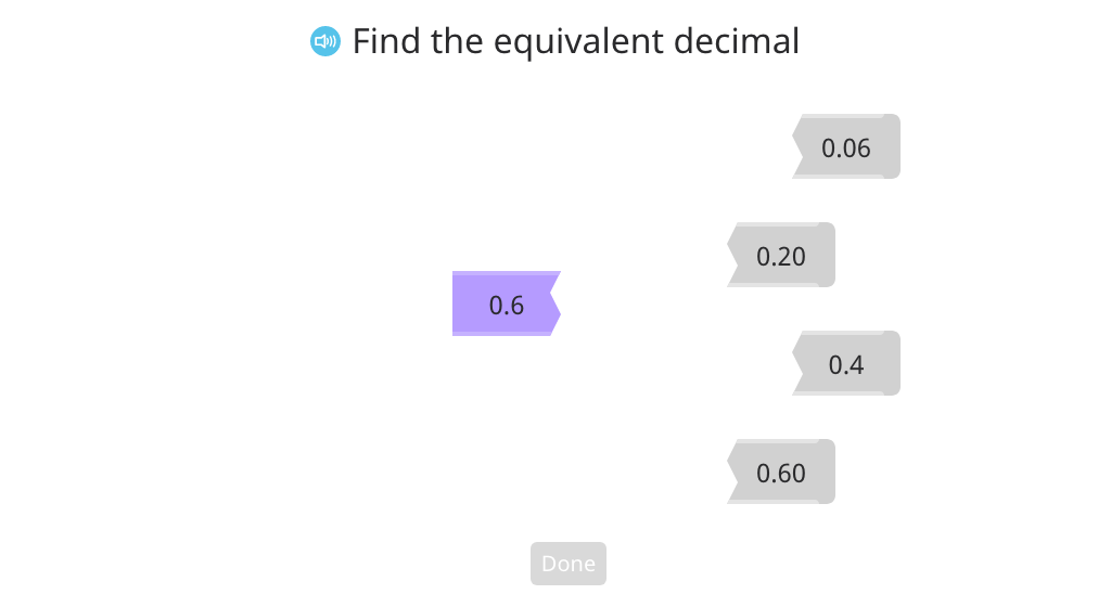 Match equivalent tenths and hundredths in decimal and unit form