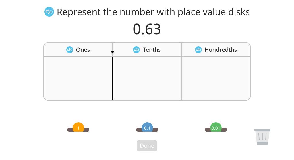 Represent a hundredths number using a disk model