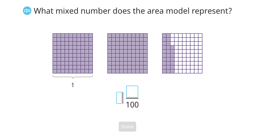 Label a mixed number on an area model using fraction and decimal form