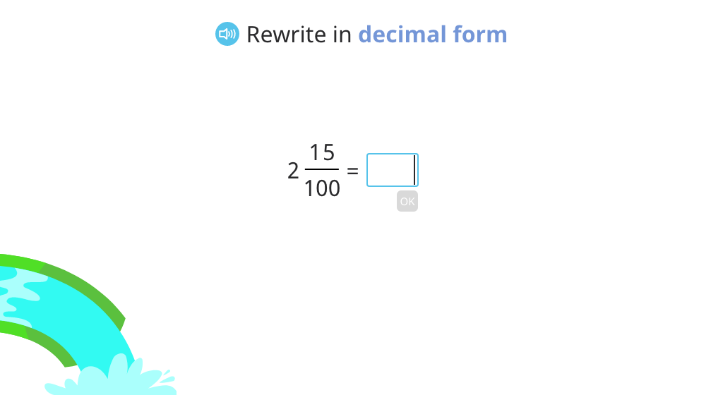 Match mixed numbers in fraction and decimal form, and rewrite a mixed number fraction in decimal form