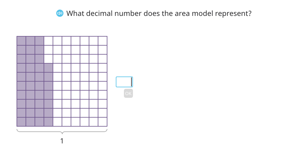 Use <, =, and > to compare decimal numbers based on an area model