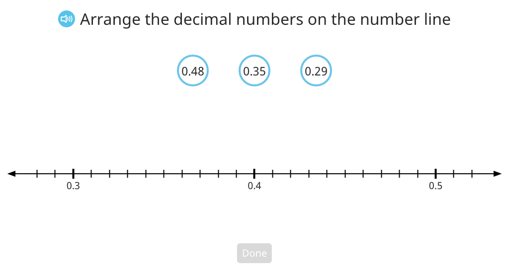 Order decimal numbers in a double inequality statement based on a number line