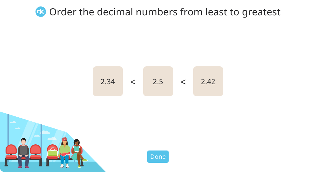 Order decimal numbers in a double inequality statement
