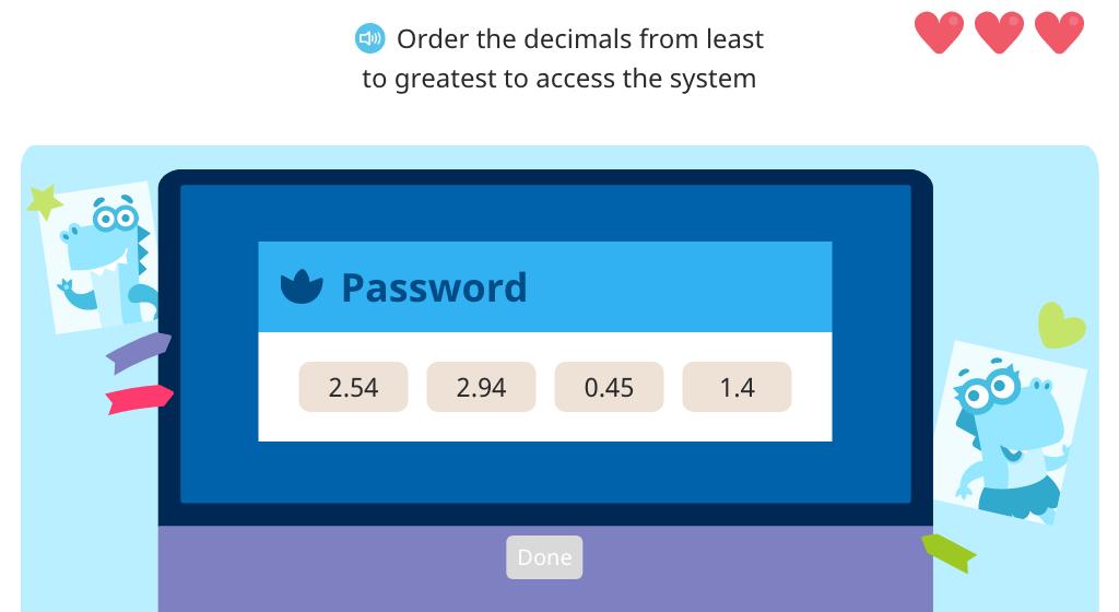 Order four decimal numbers in ascending order