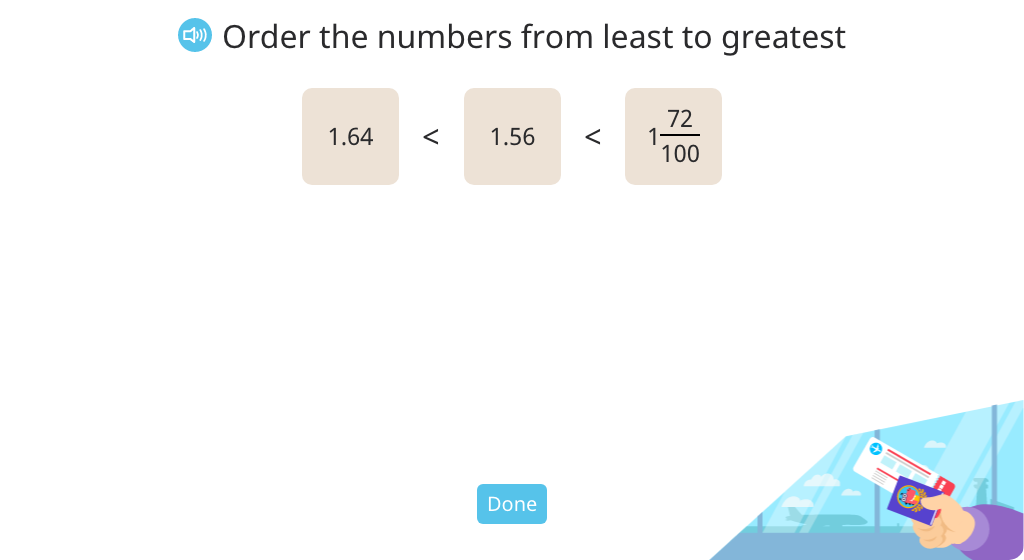 Order decimals, mixed numbers, and decimal numbers in unit form in a double inequality statement