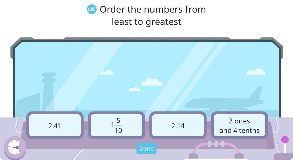 Order four decimals, mixed numbers, and decimal numbers in unit form in ascending order