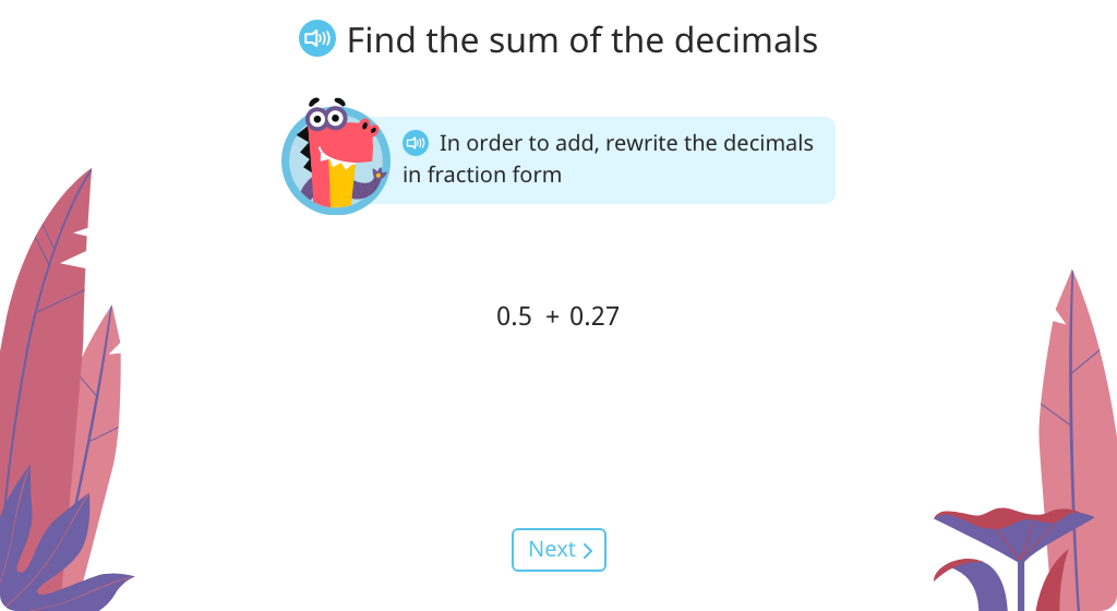 Rewrite decimals in fraction form and find an equivalent fraction to add