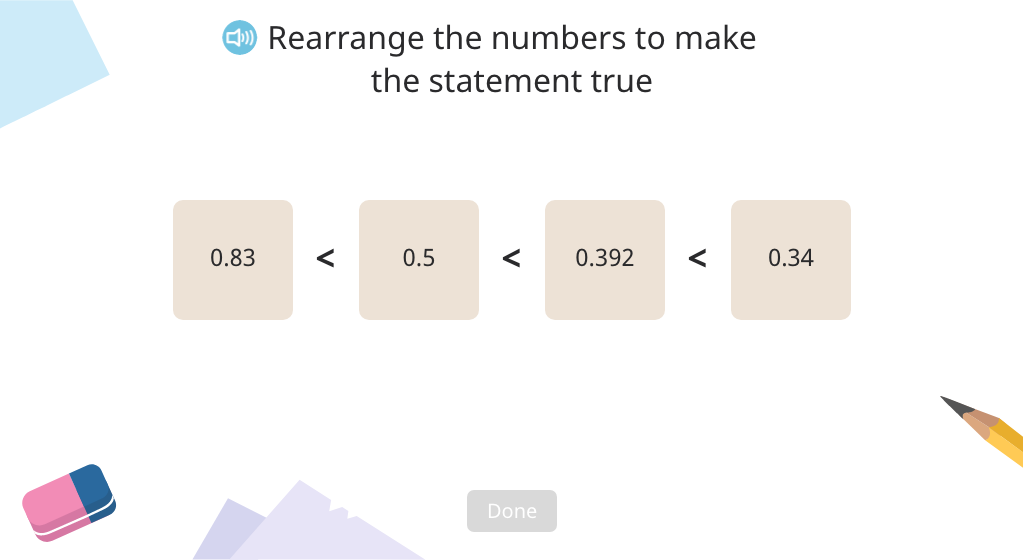 Arrange decimal numbers in order from smallest to greatest (Level 2)