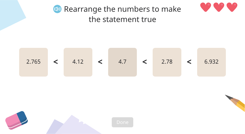 Arrange decimal numbers in order from smallest to greatest (Level 3)