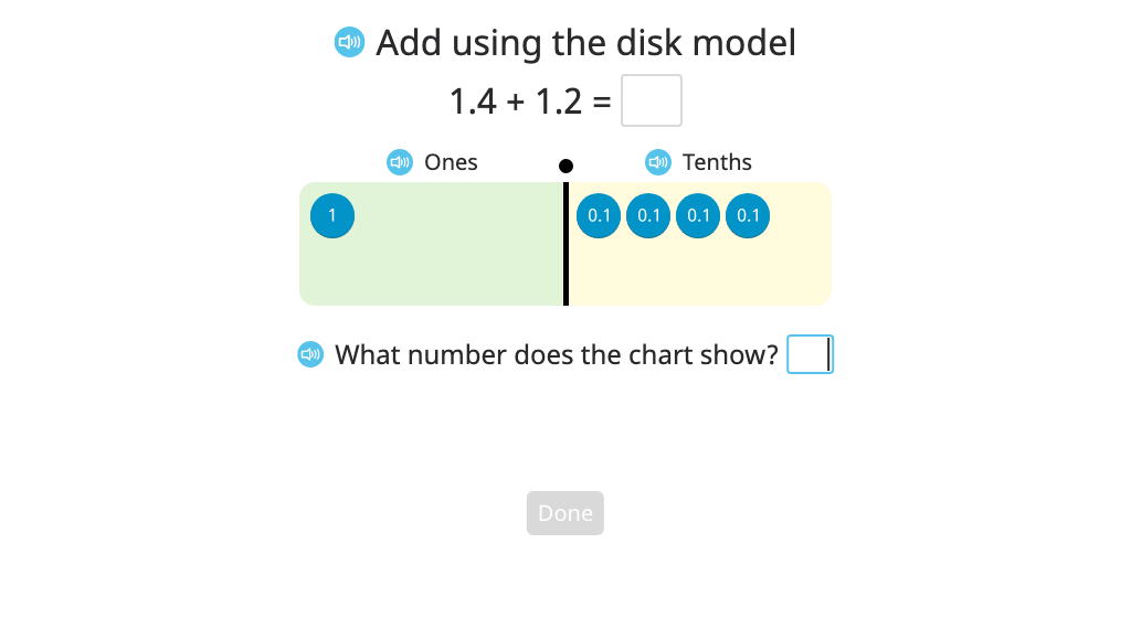Add numbers to the hundredths place with regrouping using a disk model