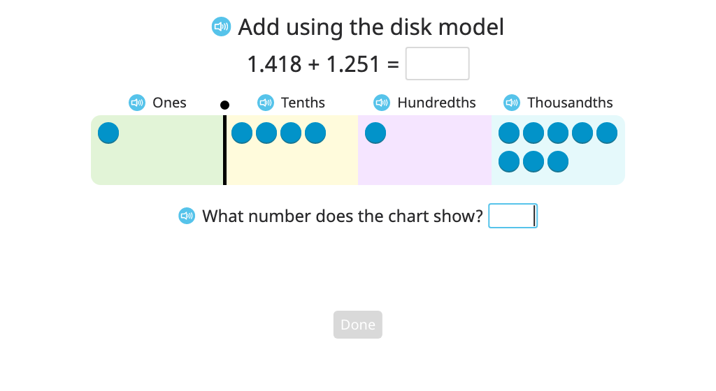 Add numbers to the thousandths place with regrouping using a disk model