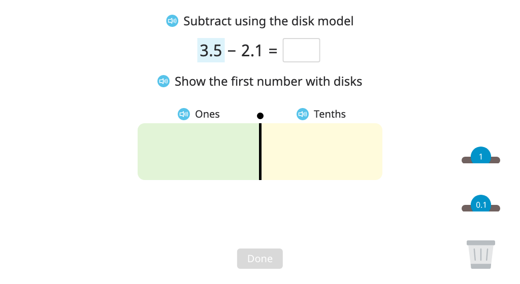Subtract numbers to the hundredths place with regrouping using a disk model