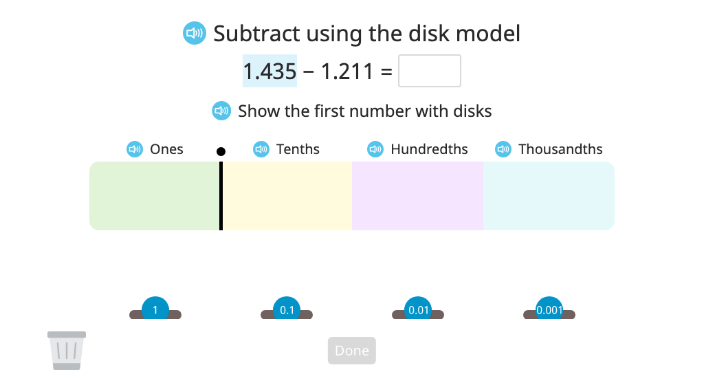 Subtract numbers to the thousandths place with regrouping using a disk model