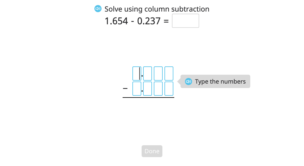 Subtract numbers to the thousandths place with regrouping using column subtraction and a disk model