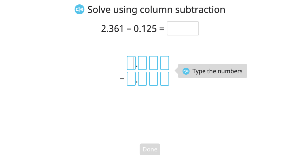 Subtract numbers of different lengths to the thousandths place with regrouping using column subtraction and a disk model