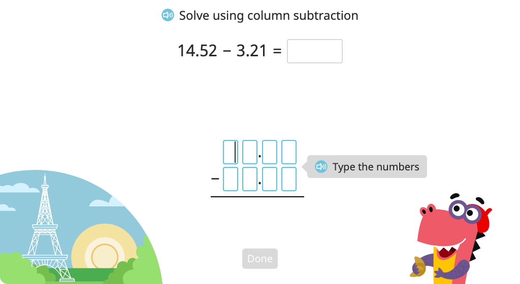 Subtract numbers to the thousandths place with regrouping using column subtraction