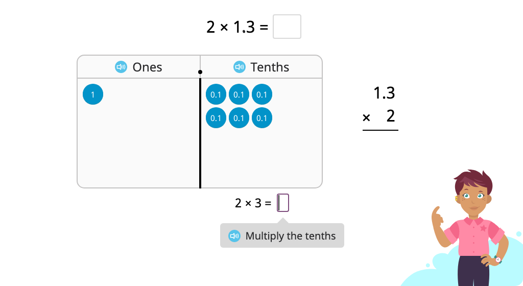 Multiply a decimal number with regrouping using a disk model and the standard algorithm