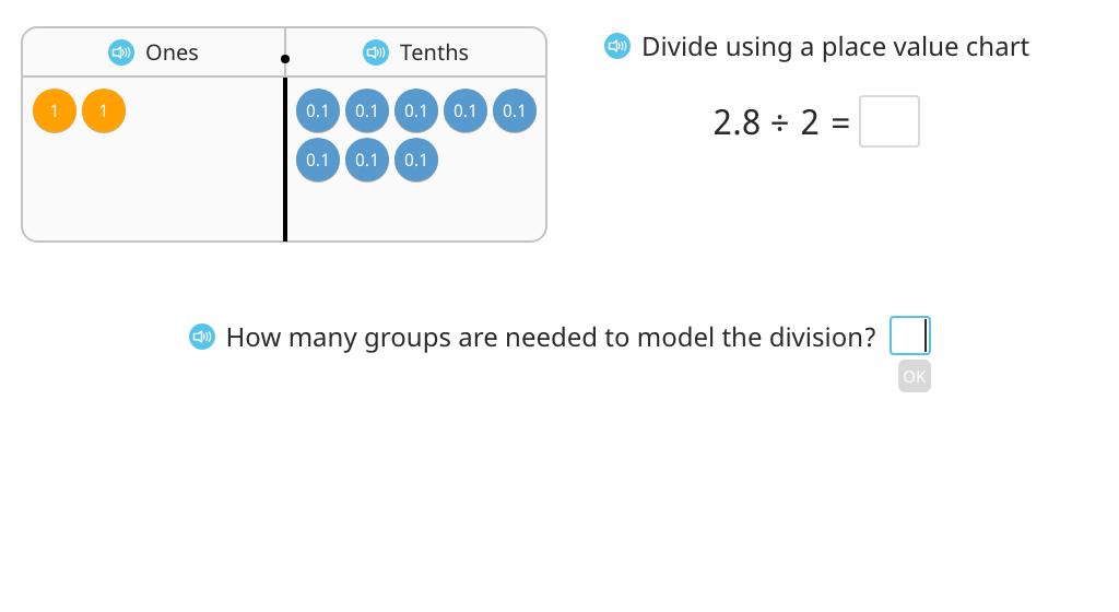 Divide a decimal number by a single-digit number based on a model
