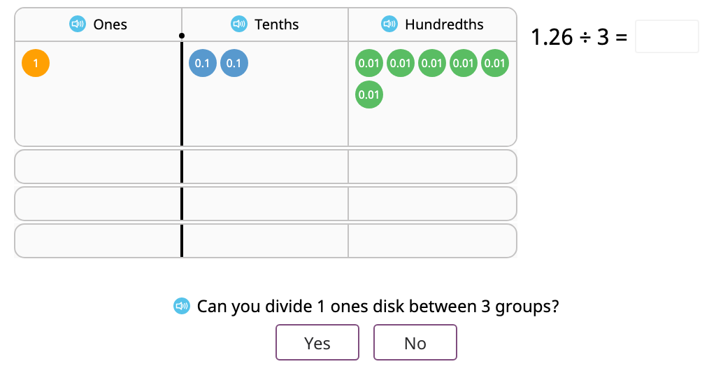 Divide a decimal number by a single-digit number with and without regrouping based on a model