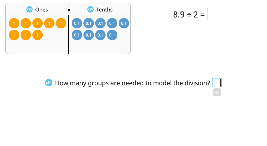 Divide a decimal number by a single-digit number with regrouping to a new place value based on a model