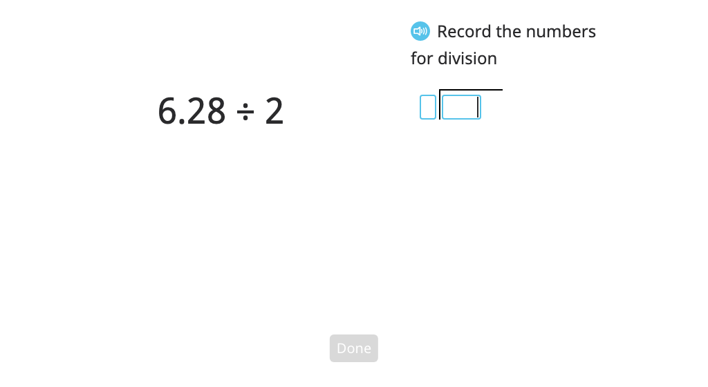 Divide a decimal number by a single-digit number with and without regrouping using long division and a model